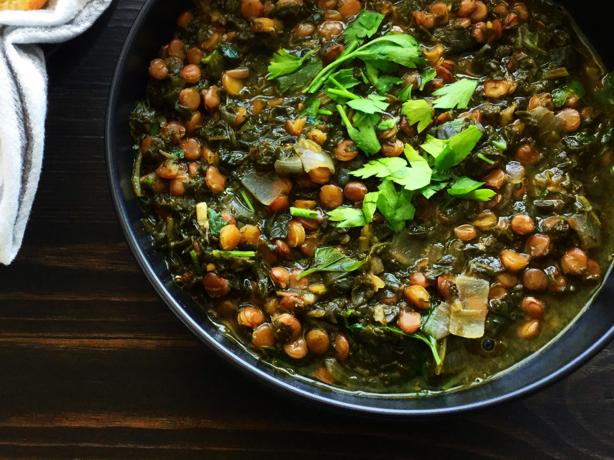 french green lentil stew with blanched greens | Functional Nutrition Alliance