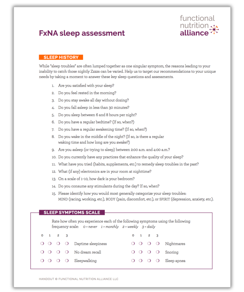 Functional Nutrition Alliance Sleep Assessment