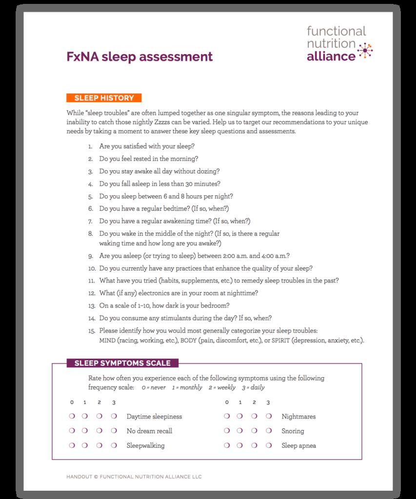 Functional Nutrition Alliance Sleep Assessment